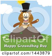 Clipart Of A Flat Styled Groundhog Mascot Wearing A Top Hat And Waving In A Pile Of Dirt On A Sunny Day With Text Royalty Free Vector Illustration