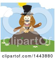 Clipart Of A Flat Styled Groundhog Mascot Wearing A Top Hat And Waving In A Pile Of Dirt On A Sunny Day Royalty Free Vector Illustration