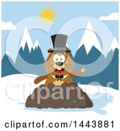 Clipart Of A Flat Styled Groundhog Mascot Wearing A Top Hat And Waving In A Pile Of Dirt In The Mountains Royalty Free Vector Illustration