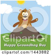 Clipart Of A Flat Styled Groundhog Mascot Waving In A Pile Of Dirt On A Sunny Day With Text Royalty Free Vector Illustration