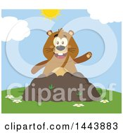 Clipart Of A Flat Styled Groundhog Mascot Waving In A Pile Of Dirt On A Sunny Day Royalty Free Vector Illustration