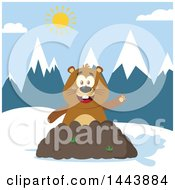 Clipart Of A Flat Styled Groundhog Mascot Waving In A Pile Of Dirt In The Mountains Royalty Free Vector Illustration