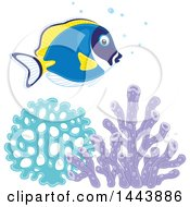 Clipart Of A Powder Blue Tang Fish Over Corals Royalty Free Vector Illustration