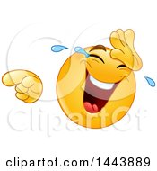 Clipart Of A Cartoon Yellow Emoji Smiley Face Emoticon Laughing Crying And Pointing Royalty Free Vector Illustration