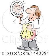 Clipart Of A Cartoon Happy Caucasian Stay At Home Dad Drying Dishes And Looking At His Reflection On A Plate Royalty Free Vector Illustration