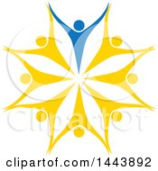 Clipart Of A Circle Of Yellow And Blue People Dancing Or Cheering Royalty Free Vector Illustration