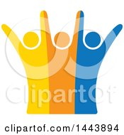 Poster, Art Print Of Group Of Colorful Cheering People