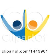 Poster, Art Print Of Blue And Orange Couple Dancing Cheering Or Holding Hands And Forming A Circle