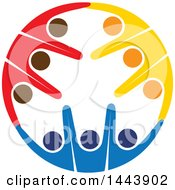 Poster, Art Print Of Circle Of Colorful Cheering People