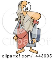 Clipart Of A Cartoon Man Plato Holding A Book Royalty Free Vector Illustration by toonaday