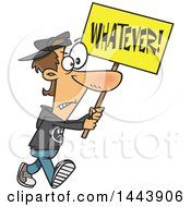 Cartoon White Male Protester Walking With A Whatever Sign