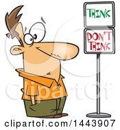 Cartoon White Man Staring At Think And Dont Think Signs