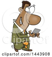 Clipart Of A Cartoon Black Business Man Walking And Texting On His Smart Phone Royalty Free Vector Illustration