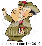 Clipart Of A Cartoon Man Mao Zedong Holding Up An Arm Royalty Free Vector Illustration