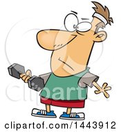 Clipart Of A Cartoon White Man Working Out With A Dumbbell Royalty Free Vector Illustration