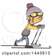Clipart Of A Cartoon White Boy Cross Country Skiing Royalty Free Vector Illustration