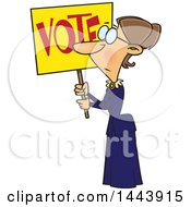 Clipart Of A Cartoon Woman Susan Anthony Holding Up A Vote Sign Royalty Free Vector Illustration