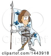 Clipart Of A Cartoon Joan Of Arc Standing With A Flag Royalty Free Vector Illustration