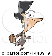 Clipart Of A Cartoon Happy Business Woman Walking And Carrying A Briefcase Royalty Free Vector Illustration