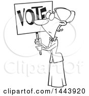 Clipart Of A Cartoon Black And White Lineart Woman Susan Anthony Holding Up A Vote Sign Royalty Free Vector Illustration