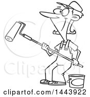 Poster, Art Print Of Cartoon Black And White Lineart Happy Woman Painting With A Roller Brush