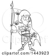 Clipart Of A Cartoon Black And White Lineart Joan Of Arc Standing With A Flag Royalty Free Vector Illustration