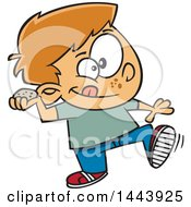 Clipart Of A Cartoon White Boy Throwing A Stone Royalty Free Vector Illustration