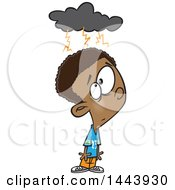 Clipart Of A Cartoon Black Boy With A Brainstorm Cloud Royalty Free Vector Illustration by toonaday