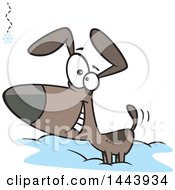 Cartoon Happy Dog Wagging His Tail And Watching A Falling Snowflake