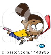 Clipart Of A Cartoon Black Girl Playing Floor Hockey Royalty Free Vector Illustration by Ron Leishman