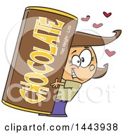 Clipart Of A Cartoon Happy Brunette White Girl Hugging A Giant Chocolate Bar Royalty Free Vector Illustration
