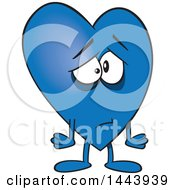 Clipart Of A Cartoon Sad Blue Love Heart Character Royalty Free Vector Illustration