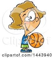 Cartoon Dirty Blond White Girl Playing Basketball