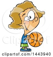 Clipart Of A Cartoon Dirty Blond White Girl Playing Basketball Royalty Free Vector Illustration