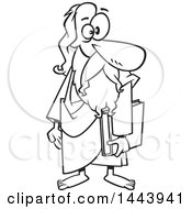 Clipart Of A Cartoon Black And White Lineart Man Plato Holding A Book Royalty Free Vector Illustration