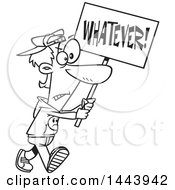 Clipart Of A Cartoon Black And White Lineart Male Protester Walking With A Whatever Sign Royalty Free Vector Illustration