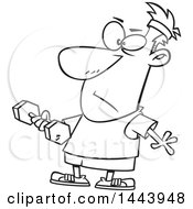 Cartoon Black And White Lineart Man Working Out With A Dumbbell