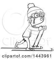 Cartoon Black And White Lineart Boy Cross Country Skiing