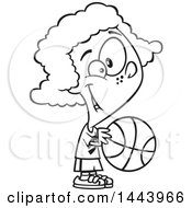 Poster, Art Print Of Cartoon Black And White Lineart Girl Playing Basketball
