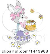 Clipart Of A Cartoon Female Bunny Rabbit Carrying An Easter Cake Royalty Free Vector Illustration