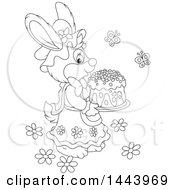 Cartoon Black And White Lineart Female Bunny Rabbit Carrying An Easter Cake