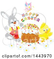 Gray Bunny Rabbit And Chick With A Butterfly Happy Easter Text And Cake