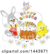 Cartoon Bunny Rabbit And Chick With A Butterfly Happy Easter Text And Cake