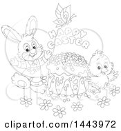 Cartoon Black And White Lineart Bunny Rabbit And Chick With A Butterfly Happy Easter Text And Cake