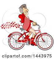 Clipart Of A Cartoon Valentines Day Cupid Riding A Bicycle With A Trail Of Love Hearts Royalty Free Vector Illustration