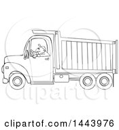 Cartoon Black And White Lineart Man Driving A Dump Truck