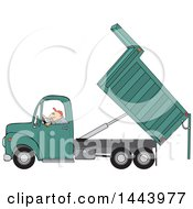 Cartoon Caucasian Man Operating A Hydraulic Dump Truck