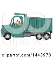 Cartoon Caucasian Man Driving A Dump Truck
