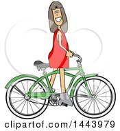 Clipart Of A Cartoon Caucasian Girl Riding A Green Bike Royalty Free Vector Illustration by djart