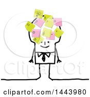 Clipart Of A Stick Business Man With Postit Notes All Over His Head Royalty Free Vector Illustration